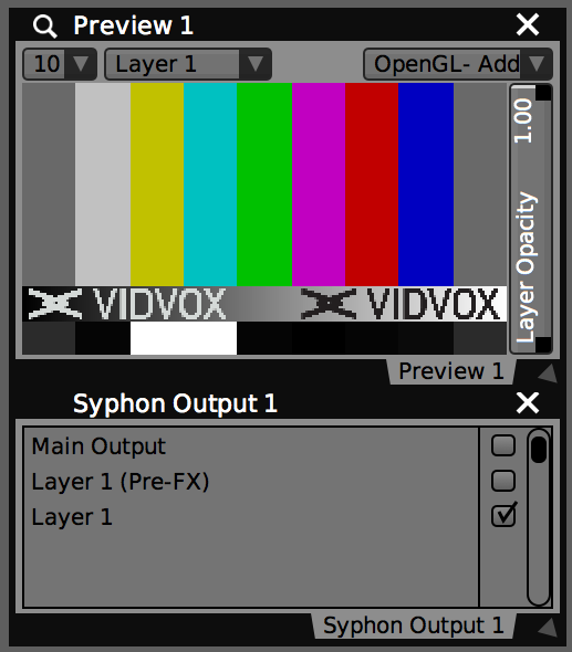 The ' Syphon Output ' plugin in VDMX is used to publish layers.