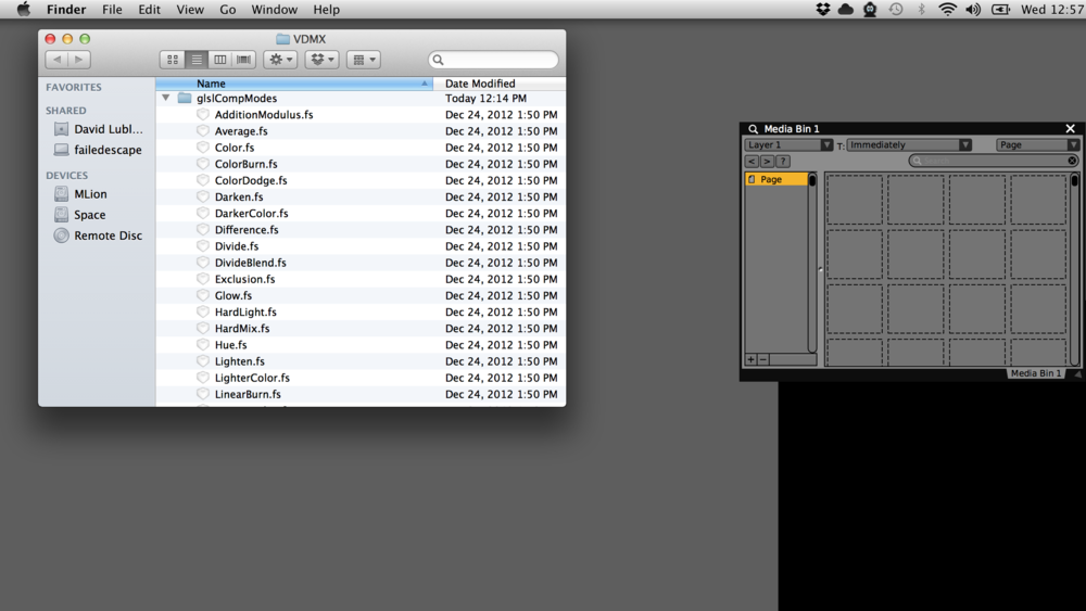 Viewing the contents of the glslCompModes assets folder in the Finder.