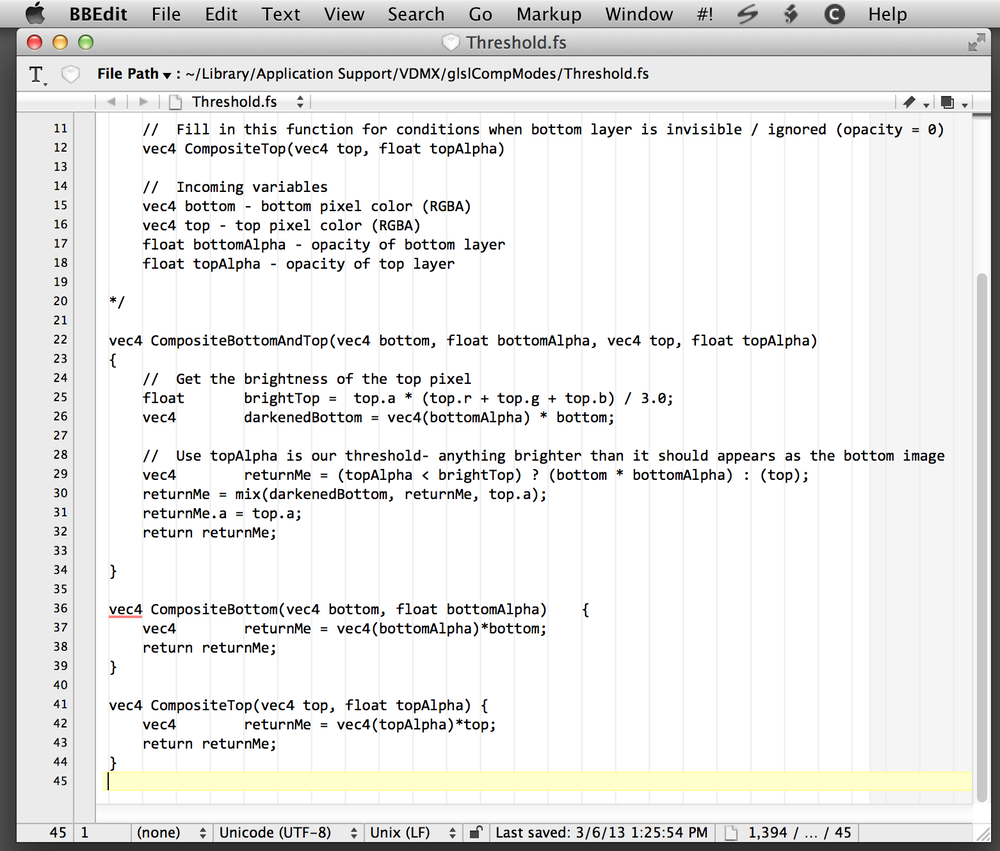 Editing 'Threshold.fs' in BBEdit.