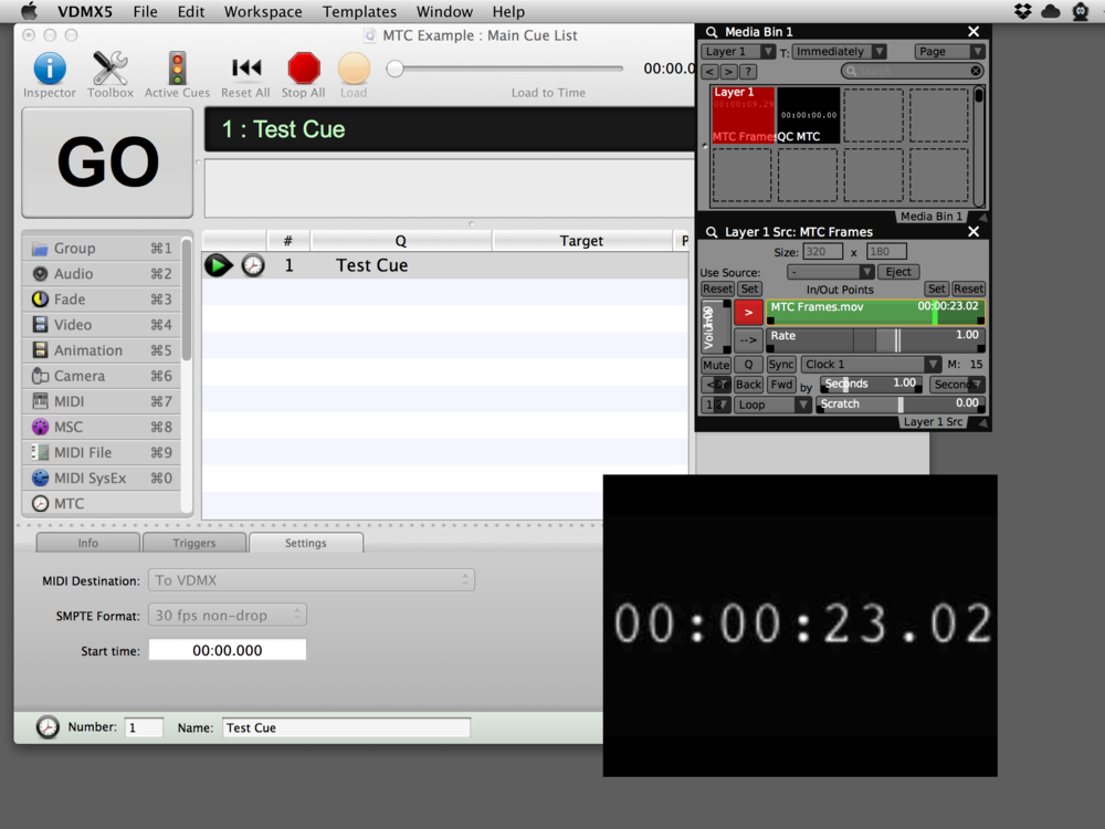 Movie 'Time Slider' in VDMX slave to MTC from QLab.