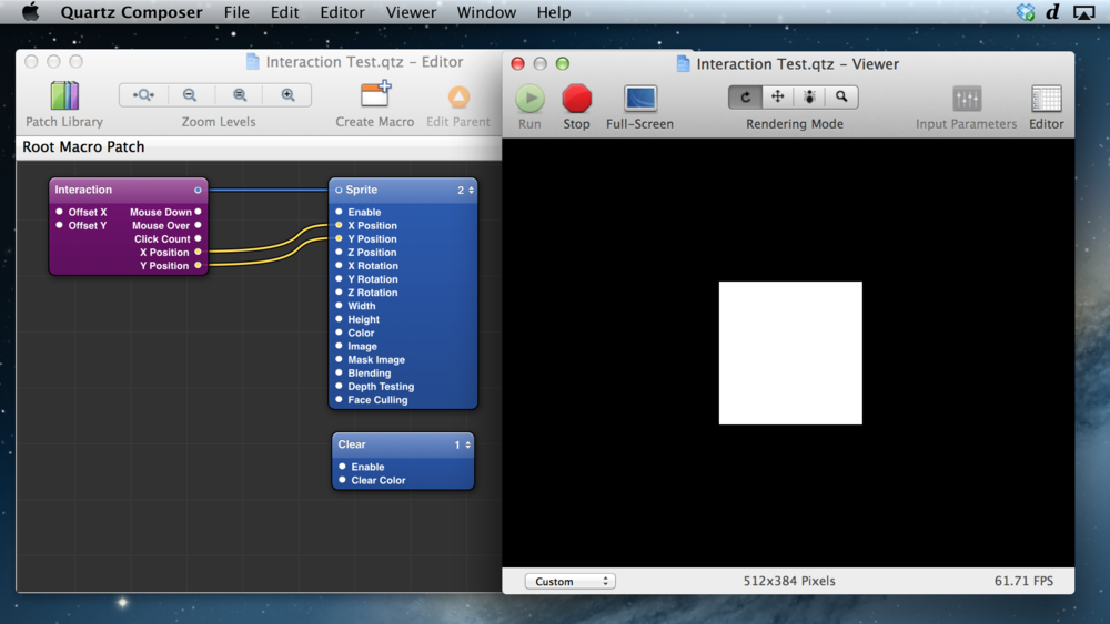 Example 'Interaction Test' Patch - click and drag the square.