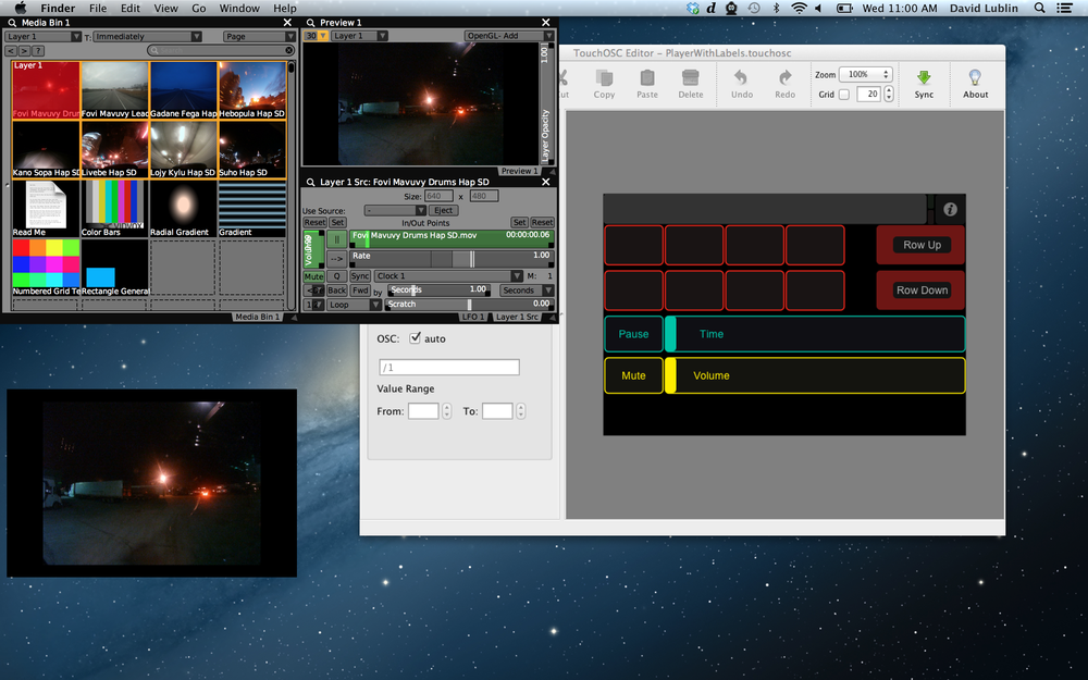 Preparing a basic layout with VDMX and TouchOSC Editor on the Mac.
