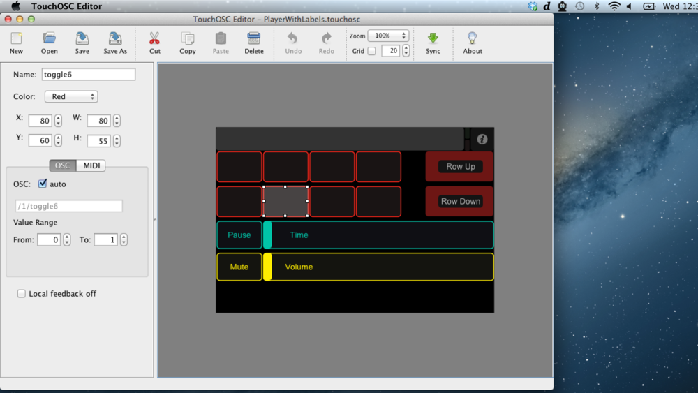 Preparing the layout in the TouchOSC Editor, editing 'toggle6' in the sidebar.