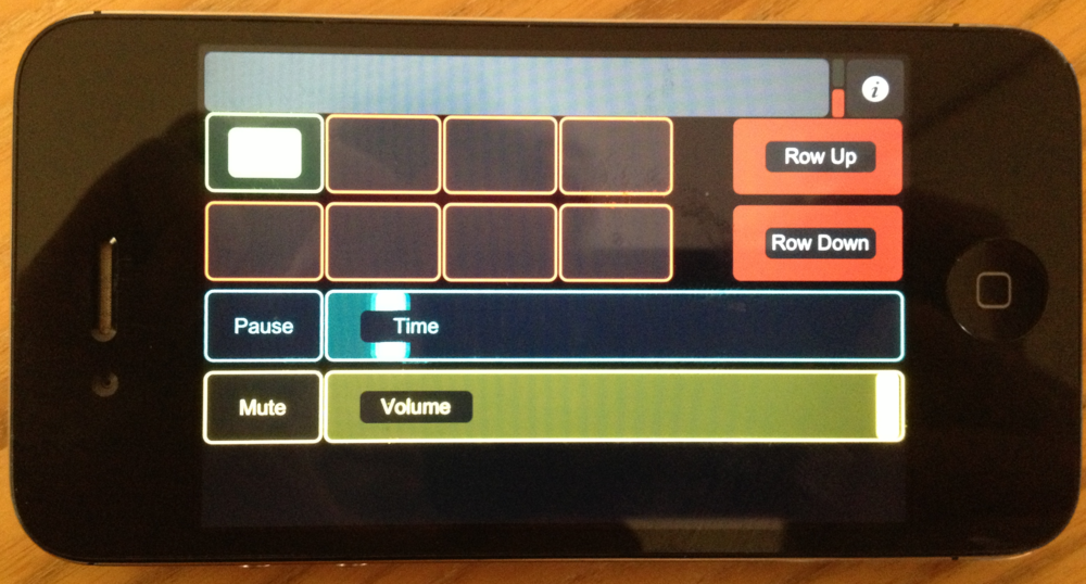 TouchOSC Layout with toggle buttons for triggering media bin cells and time slider display running on iPhone.