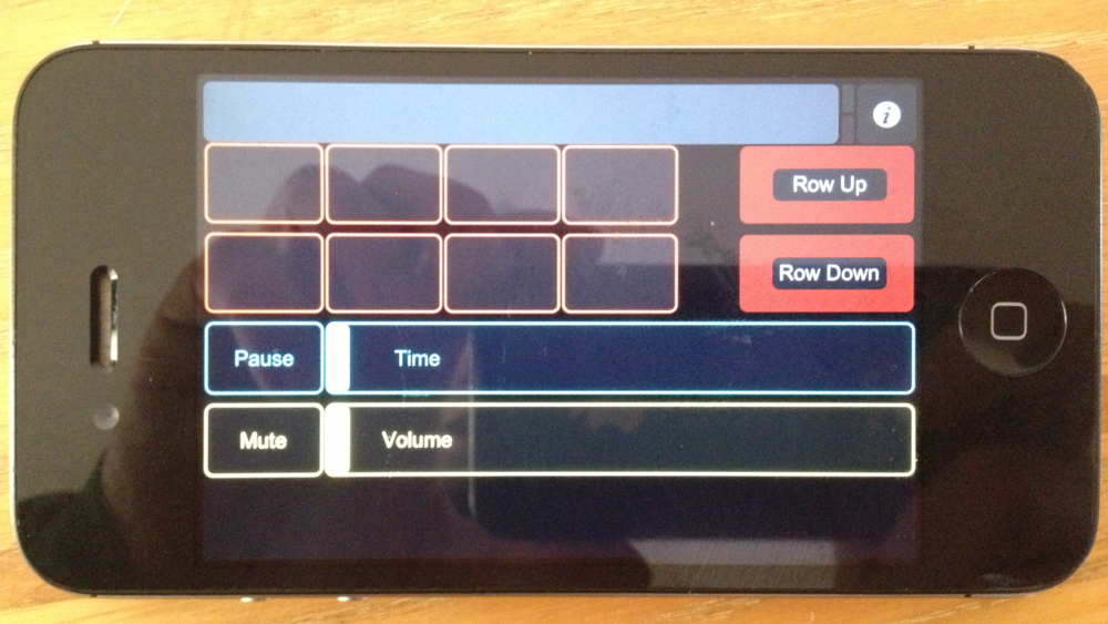 Example 'MovieControls' TouchOSC Layout loaded and running on iPhone.