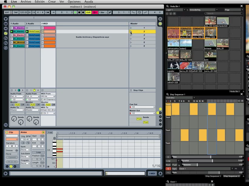 Each MIDI clip in Ableton Live has 2 notes- one to change the Trigger Selection in the Media Bin, the other to trigger both a button of the Control Surface and a new movie.