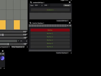 Start by creating a Control Surface with 6 buttons, each will trigger a different FX and Step Sequencer preset.