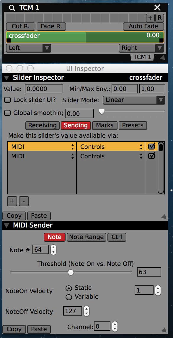 Two MIDI senders on the crossfader, one for each button.
