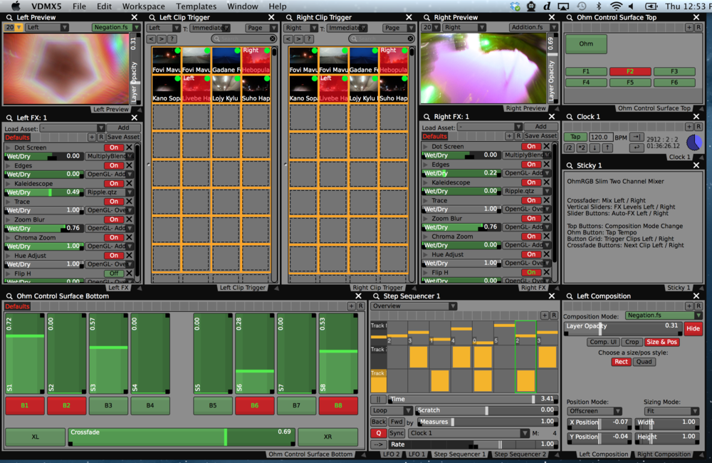 The completed two channel mixer OhmRGB Slim template for VDMX.
