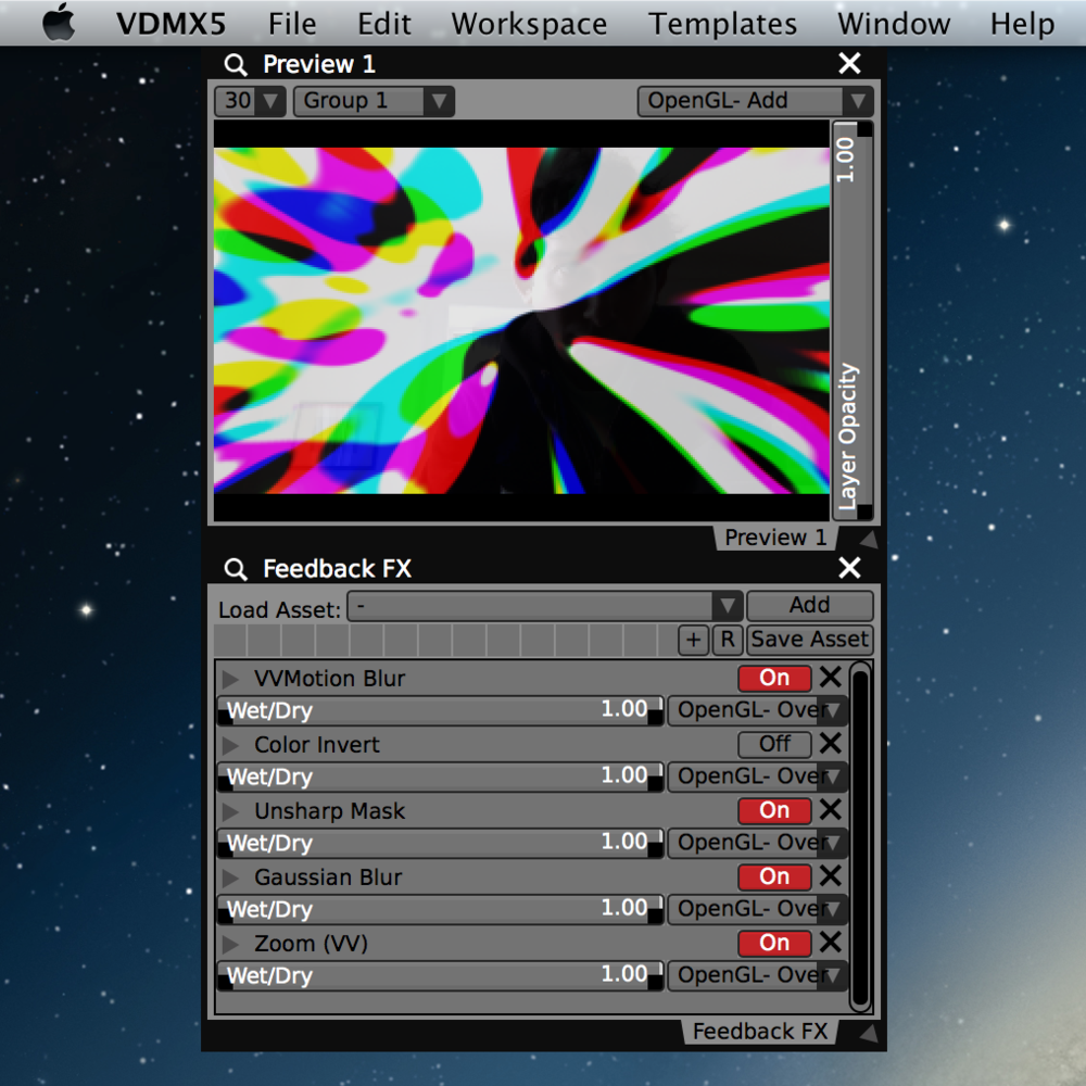 Applying an set of of blurs, invert, sharpen and zoom FX the 'Feedback' layer to create a 'lava lamp' style output.