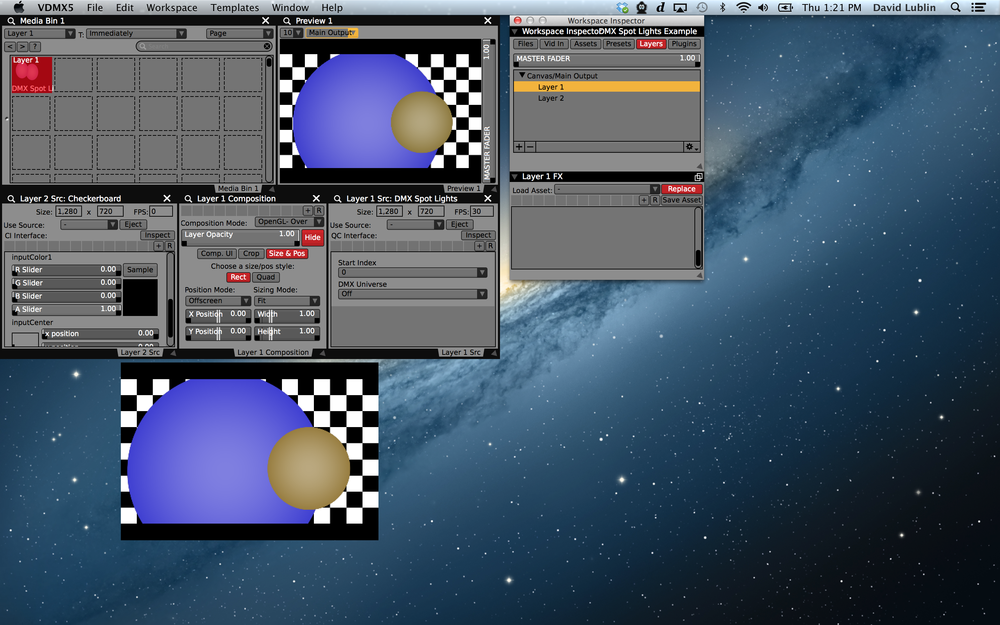 Example VDMX project with DMX controlled circles over a checkerboard pattern.