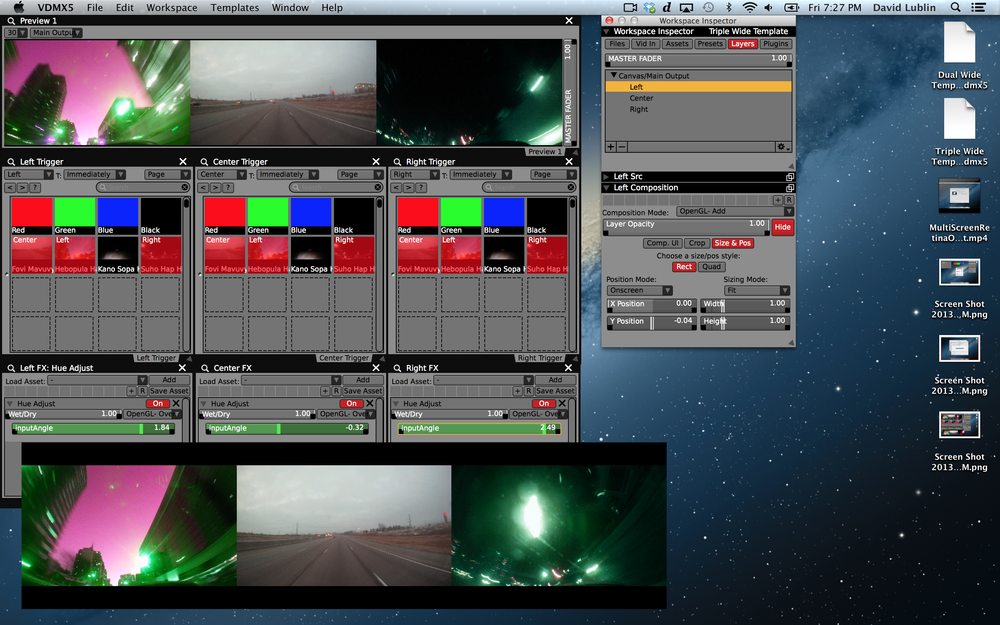 Completed 5760x1080 project with 3 layers of 1080p video playing with FX to separate outputs.