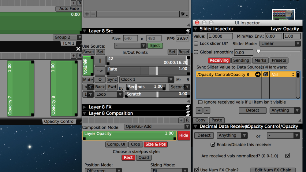 Assign volume and opacity sliders for each layer to its slider in the control surface.