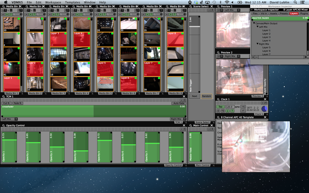 Completed 8 Layer APC40 Mixer template for VDMX.