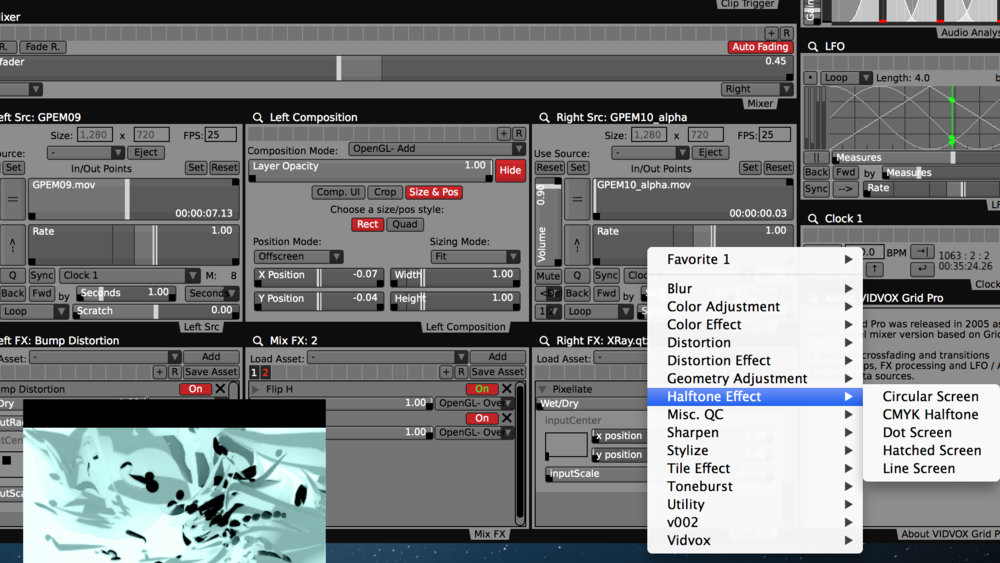 Adding visual FX to the Right layer. Separate FX chains can be applied to the Left, Right and final Mix.