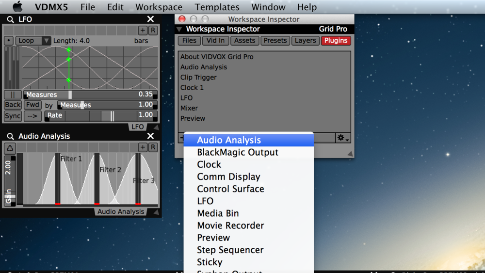 Audio Analysis and LFOscontrollers from Grid Pro are available as plugins in VDMX.