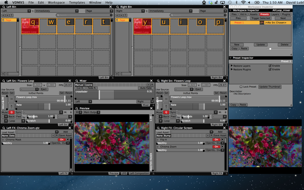"""Dual deck"" remixing a single A/V loop on two layers in VDMX with a simple mixer."