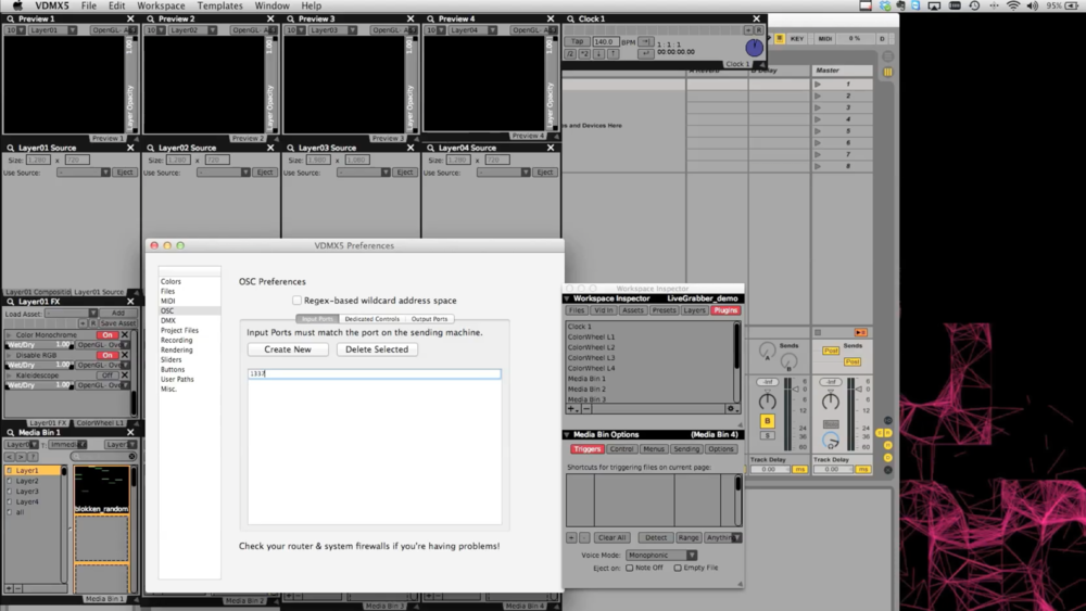 In the VDMX Preferences under 'OSC' set up the Input Port to receive messages from Livegrabber.