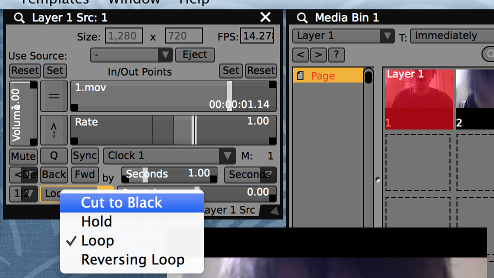 In the 'layer source controls' set the movie loop mode to 'cut to black' to have the clip stop at the end.