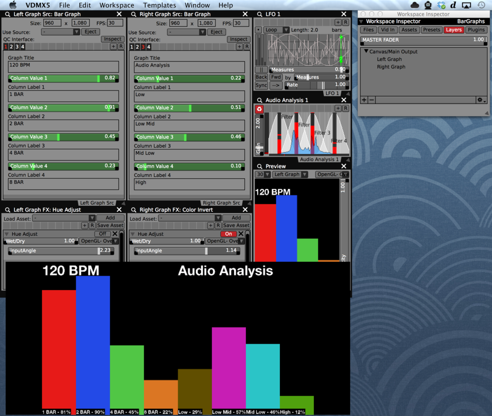 A Quartz Composer patch used to create two separate 4 column bar graphs in VDMX visualizing tempo and audio analysis levels respectively.