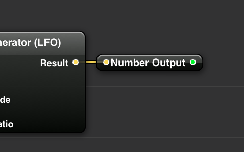 Compositions can also have published outputs for returning numbers, colors, images and other control data back to VDMX for visualization.