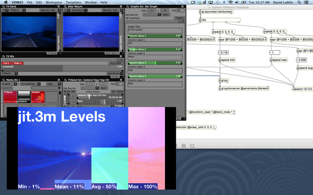 Max/MSP/Jitter patch running as an external FX send and data-source provider for VDMX layers.
