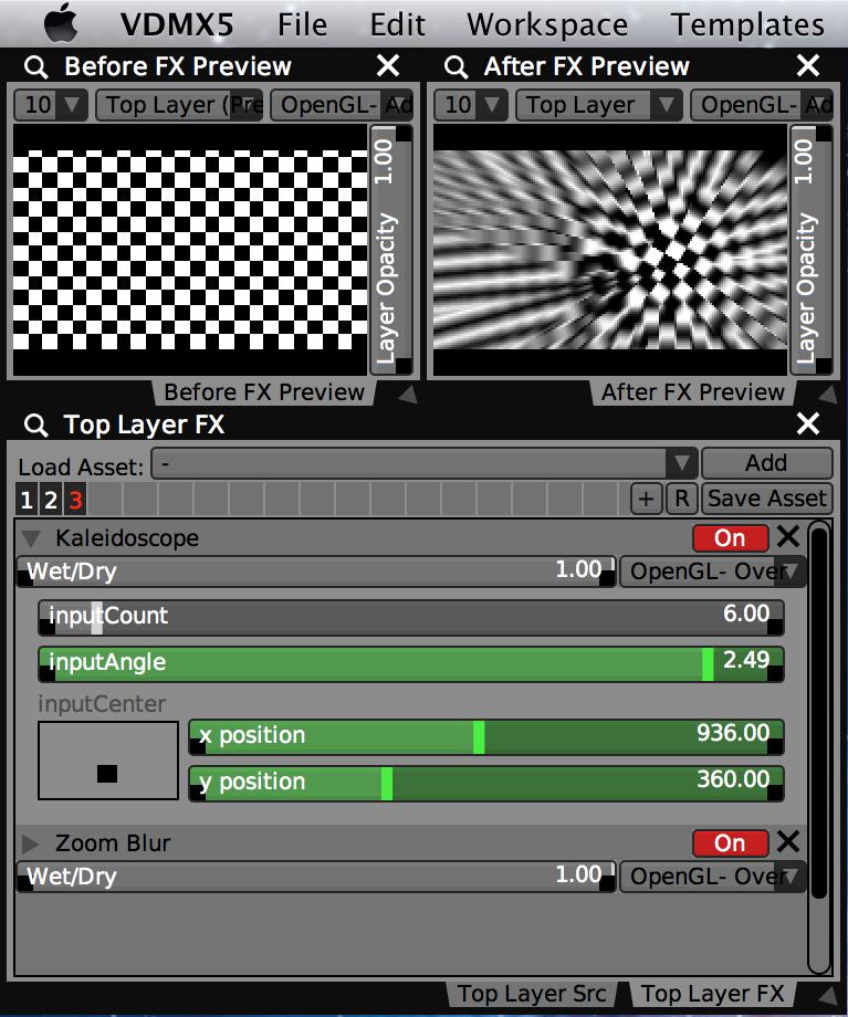 Exemplo de configuração com pré-visualização antes e depois.