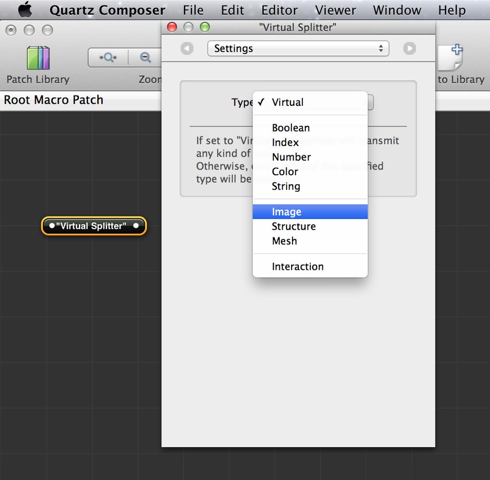 configurando o tipo de um objeto entrada dividida (input splitter) para o tipo Imagem.