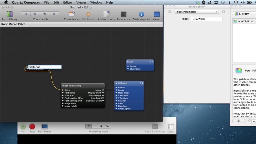 """Adicionando uma entrada dividida (splitter input) com o título """"FileInput"""" para criar um patch qcTextSource."""