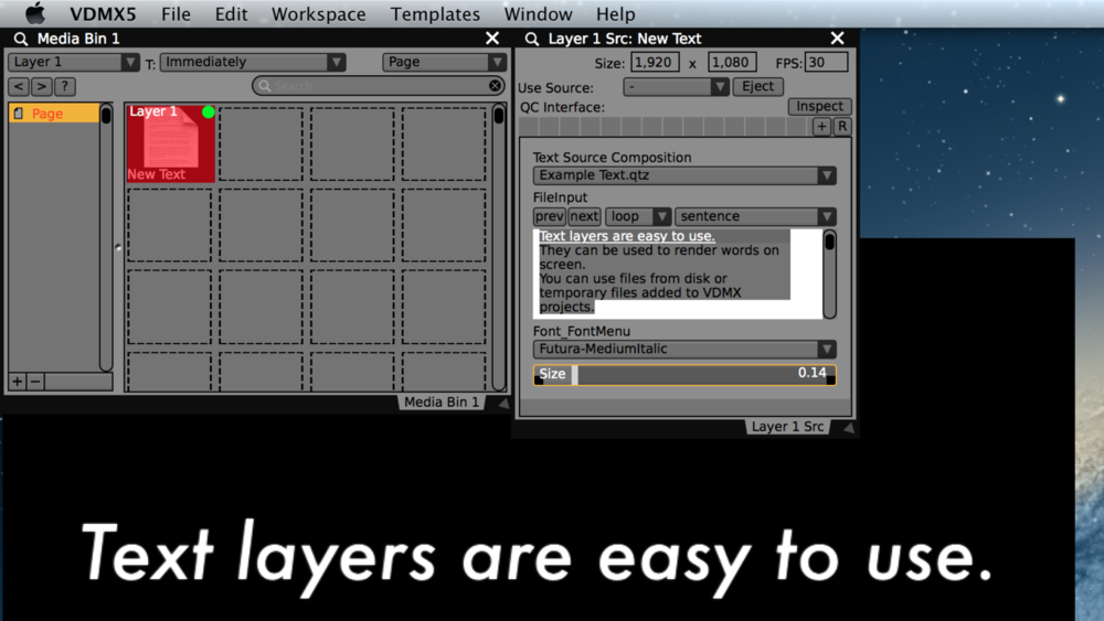 """A composição """"Example Text"""" usada para renderizar um arquivo de texto no VDMX com o seleção de fonte e controle do player para textos."""