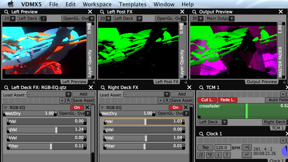 "Using the included ""RGB-EQ"" FX to fade movie layers in and out, one color channel at a time."