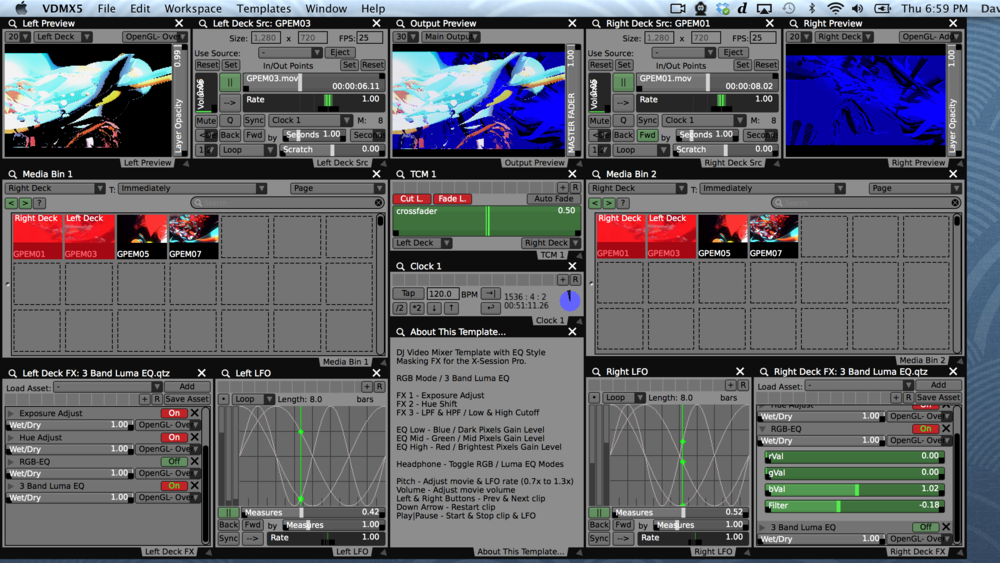 Our completed VDMX template, a two channel DJ style video mixer for the M-Audio X-Session Pro with EQ and movie controls.