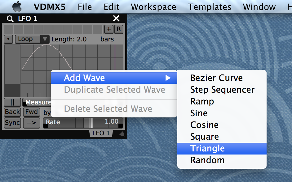Right-click to add waveforms and lookup curves to the  LFO plugin .