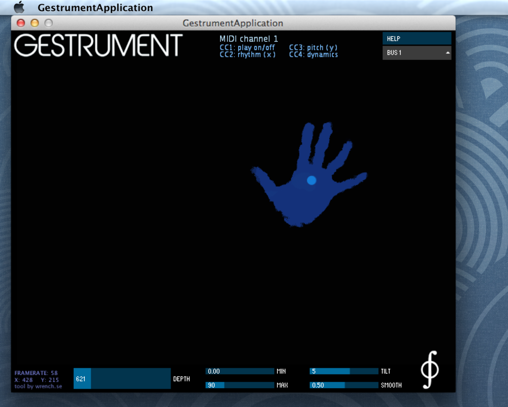 Adjust the Depth range slider in Gestrument Kinect until only your hands are visible.