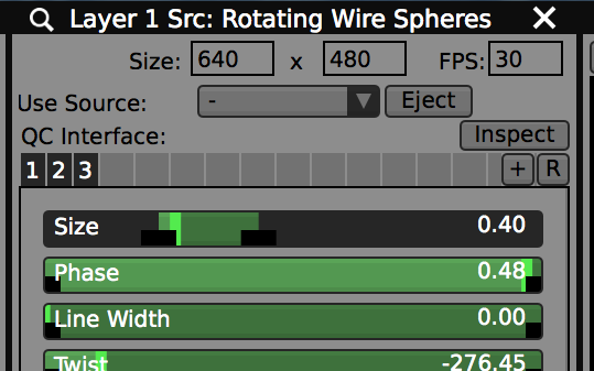 Section Presets in the layer source panel save and load the input controls for generators.