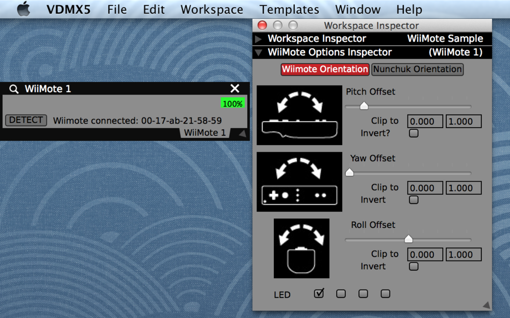 An active WiiMote plugin and orientation offset settings in the Workspace Inspector.