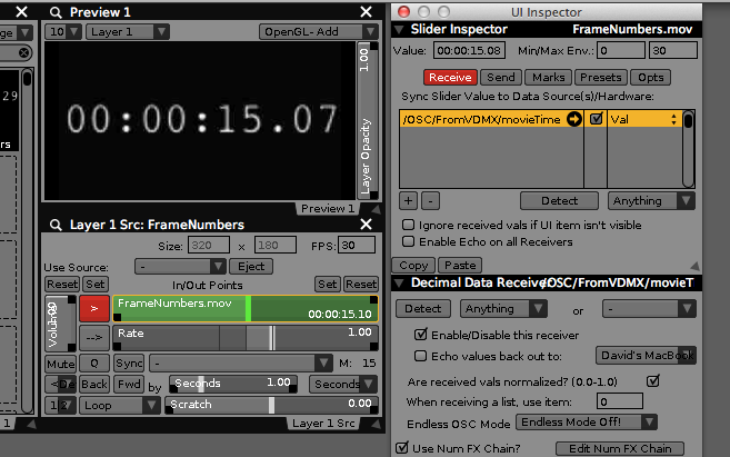 Receive OSC values to control the movie time on remote computers.