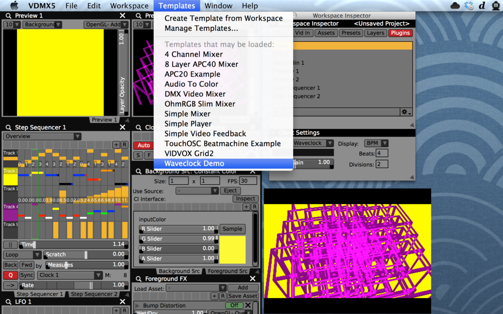 The Waveclock demo and other example VDMX setups can be loaded by from the Templates menu.