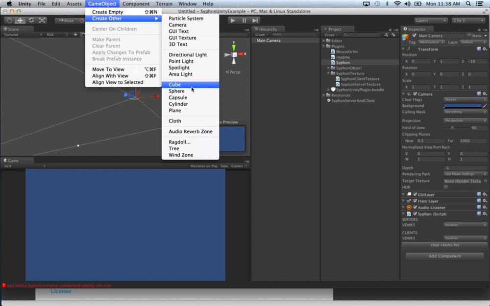 Add planes and other shapes to display video feeds from VDMX in your Unity scene.