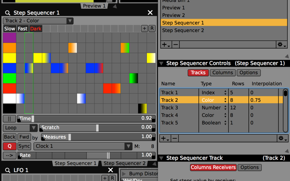 "Use the ""Interpolation"" setting for Step Sequencer tracks to smoothly fade between values on beat."
