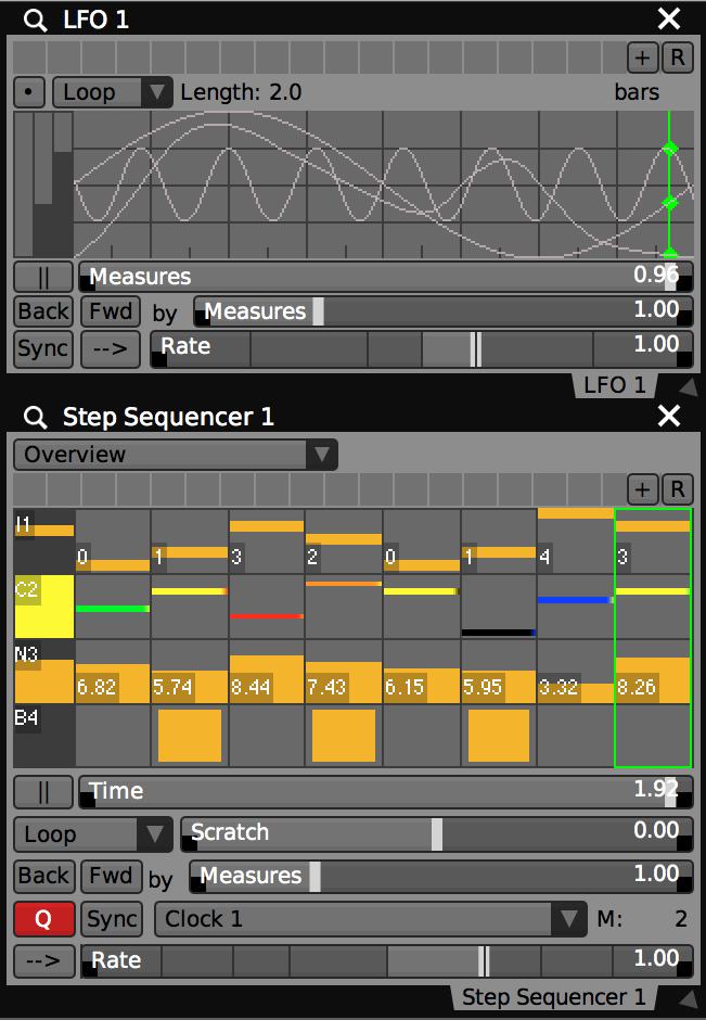 Tant le séquenceur à pas et LFO peuvent avoir plusieurs pistes / ondes de donnés dans un seul plug-in.