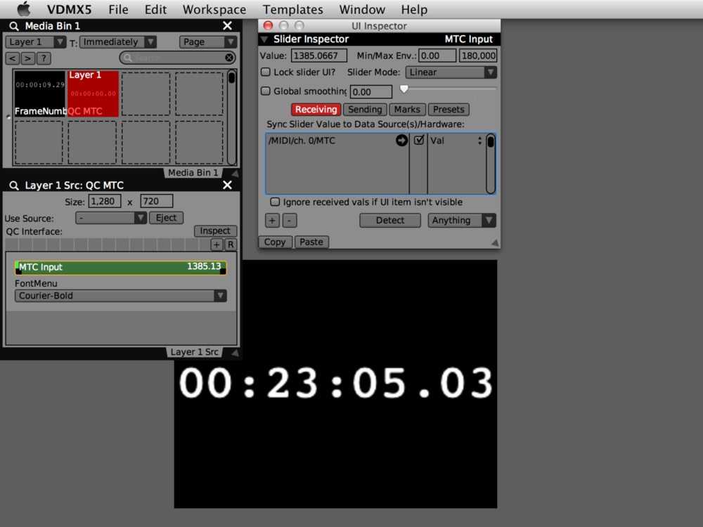 """Composition Quartz Composer avec curseur""""MTC input"""" afin de régler l'heure SMPTE rendu."""