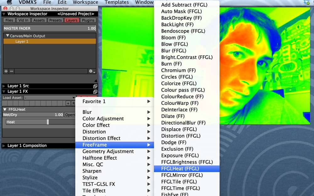 """Apply FreeFrame and FFGL FX to a layer from their sub-category in the Layer FX """"Load Asset"""" pop-up menu."""