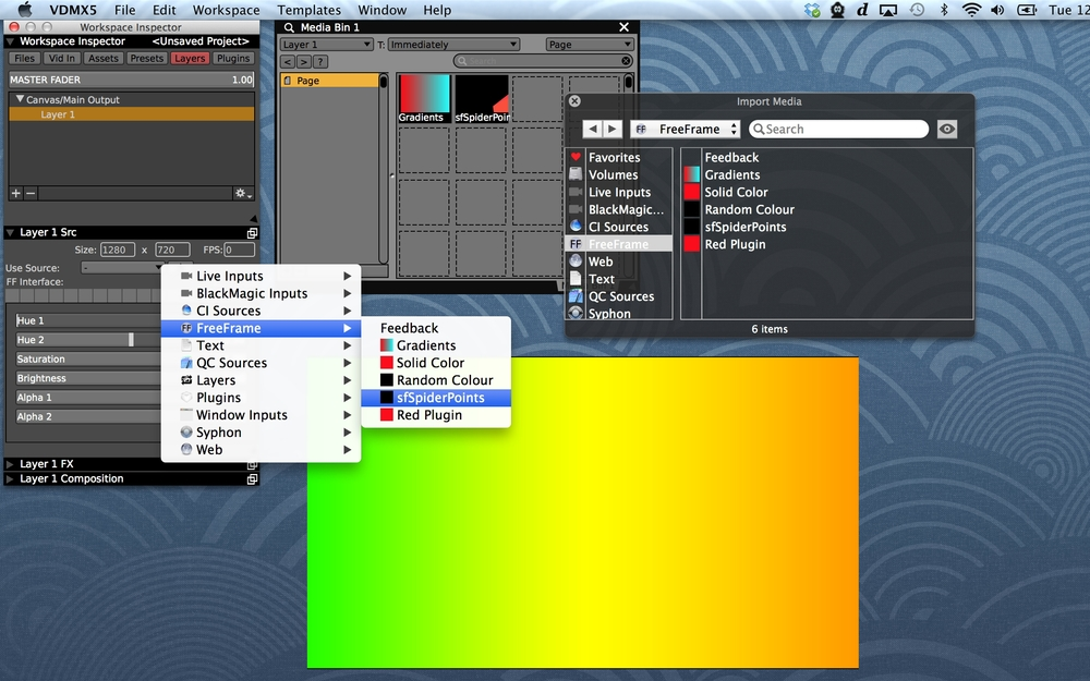 FreeFrame generators can be loaded from the Layer Source menu or added to pages with the Media Browser.