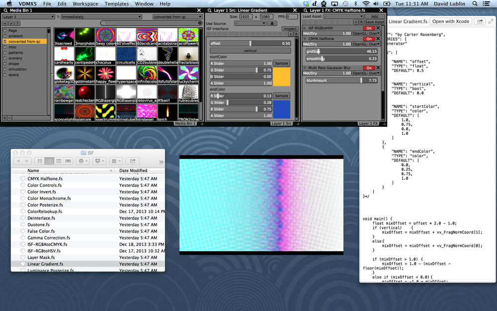 ISF video generators and FX loaded into VDMX.