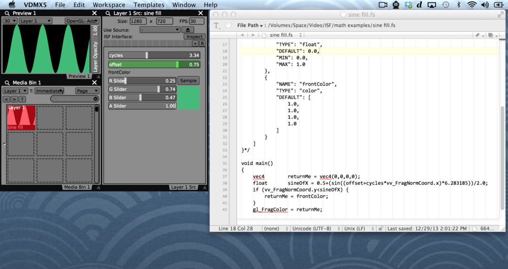 A layer in VDMX rendering a basic sine wave ISF Generator.