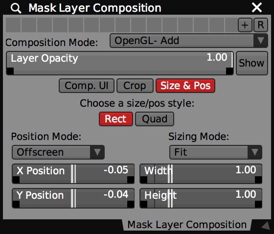 Notez le bouton d'état Show/Hide (Afficher/Cacher) dans les contrôles de composition du calque pour ce calque caché 'Mask Layer' (Calque de Masque)
