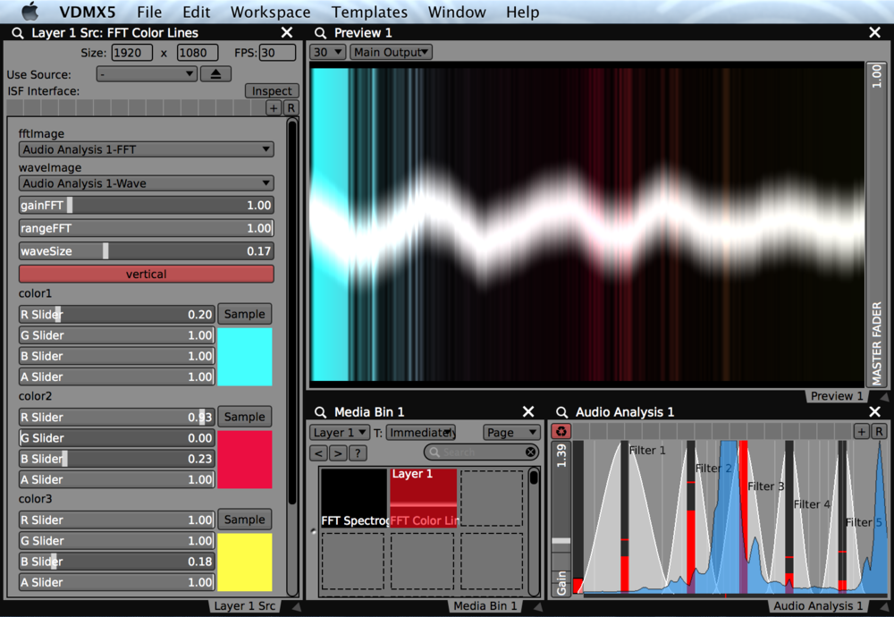 Using the FFT Color Lines generator to visualize the audio frequency spectrum and raw waveform