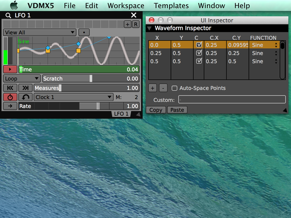 Create piecewise waveforms for the LFO in the UI Inspector window.
