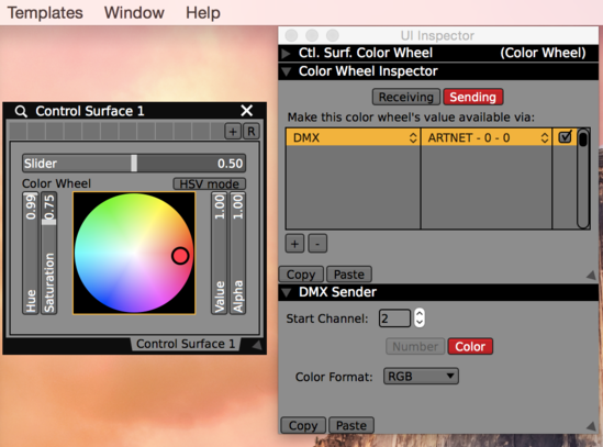 The UI Inspector Sending tab for the Color Wheel showing DMX Sender options.